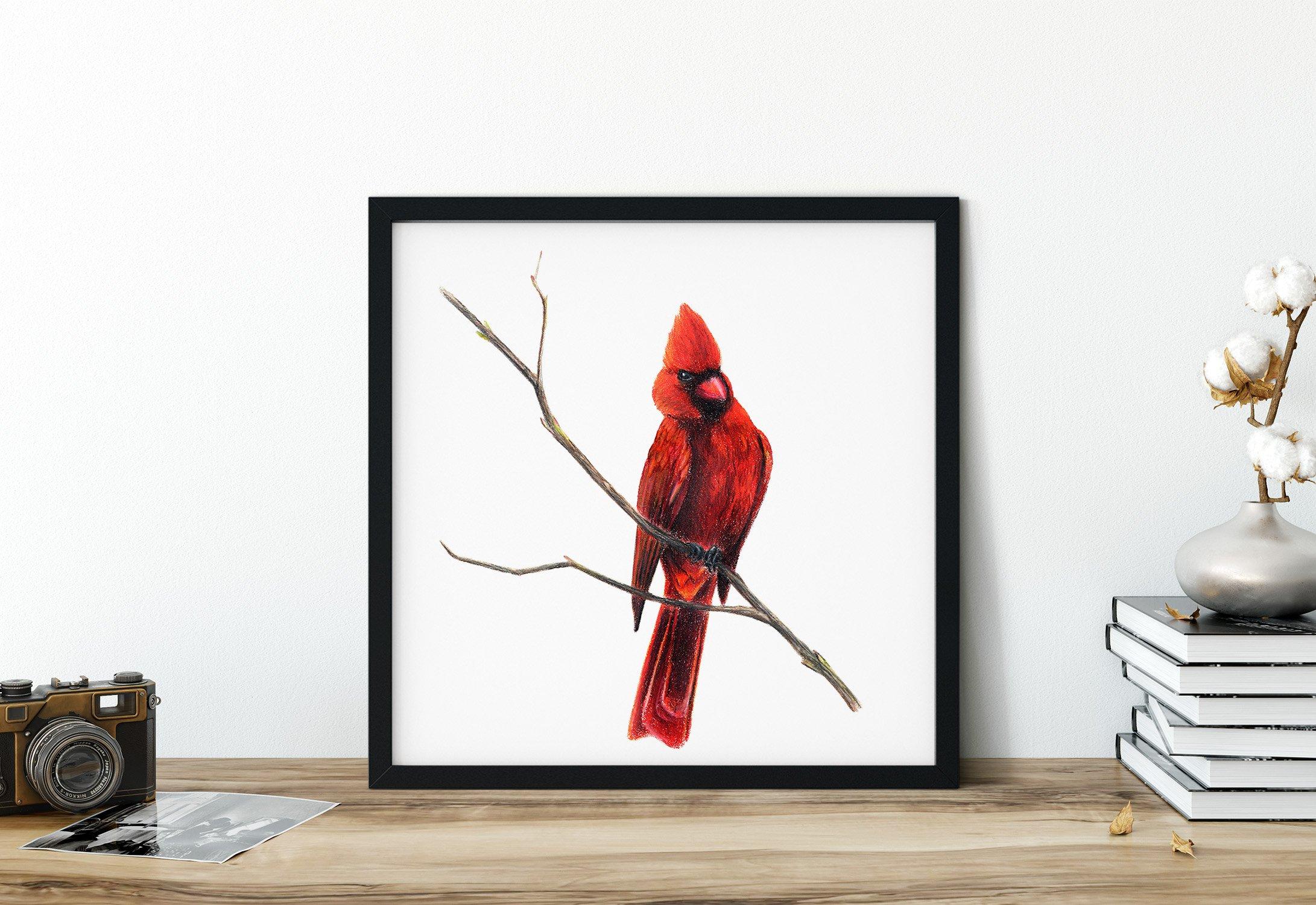 bird-art-cardinal-red-home-decor