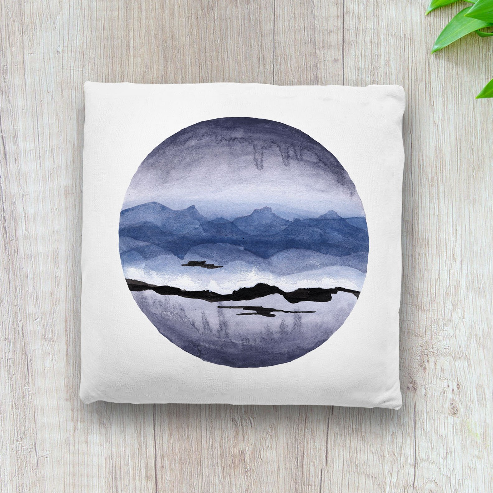 blue-abstract-landscape-throw pillow