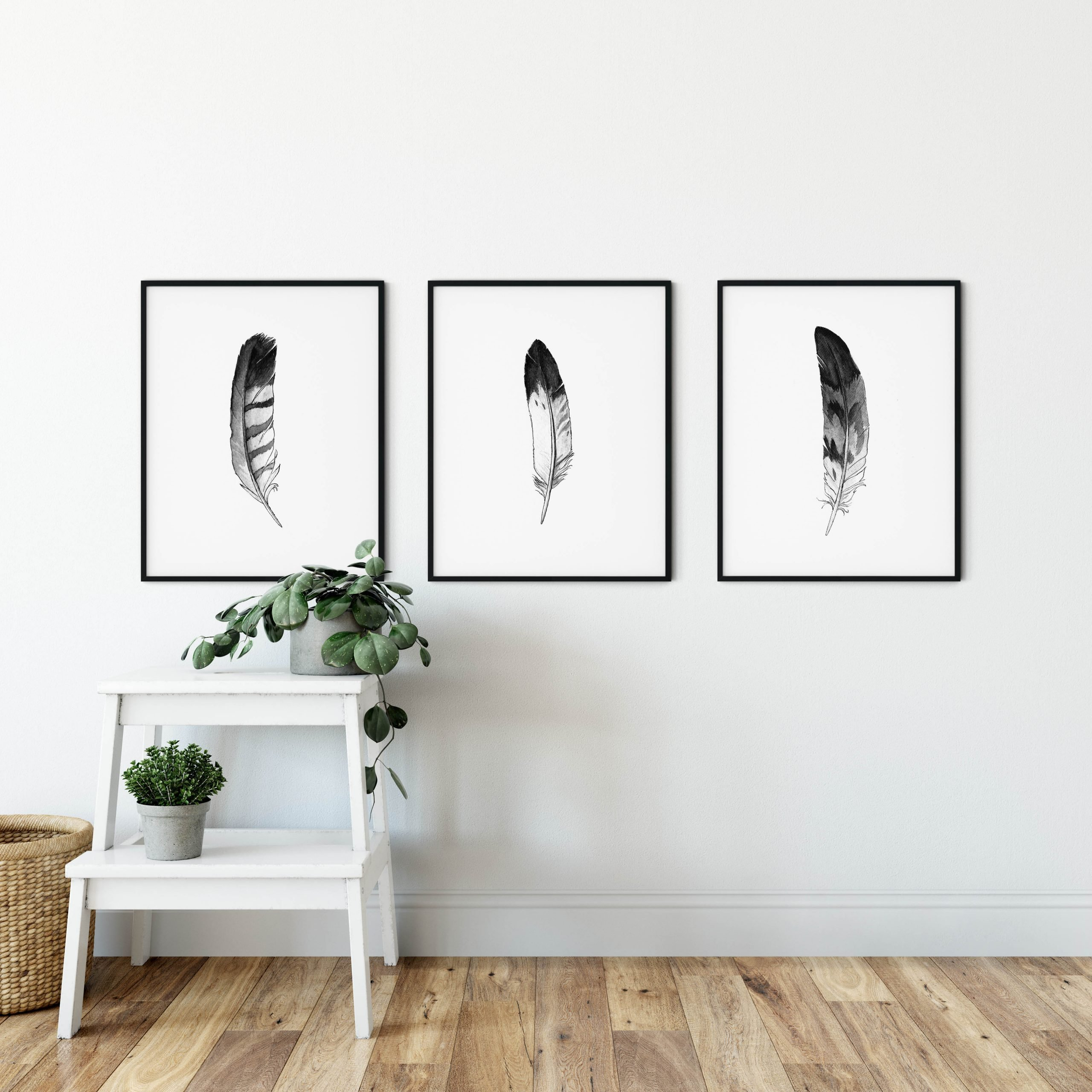 feathers-wall-decor-prints-set-3-black-and-white