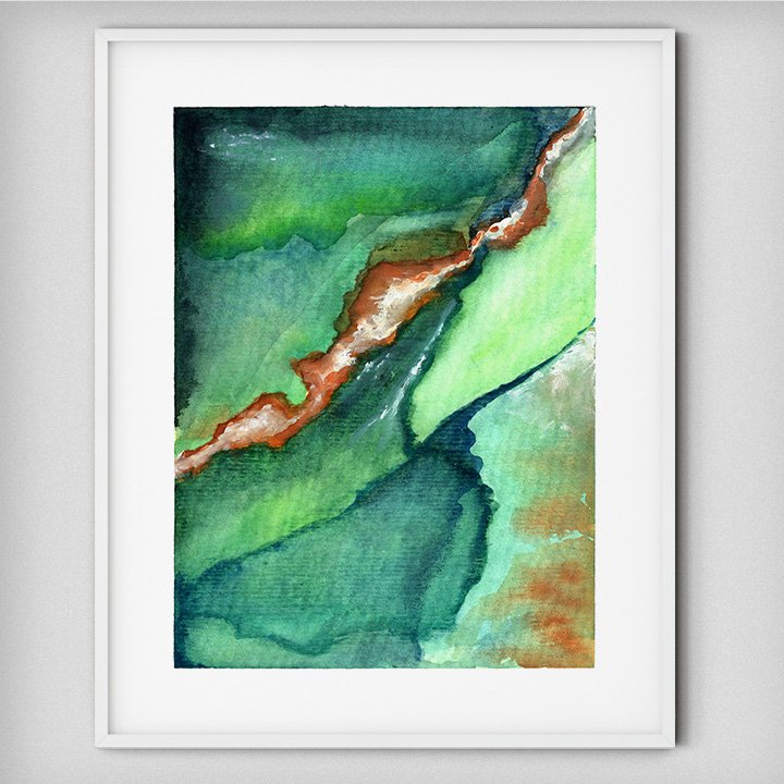 green-orange-abstract-watercolor-painting-wall-art