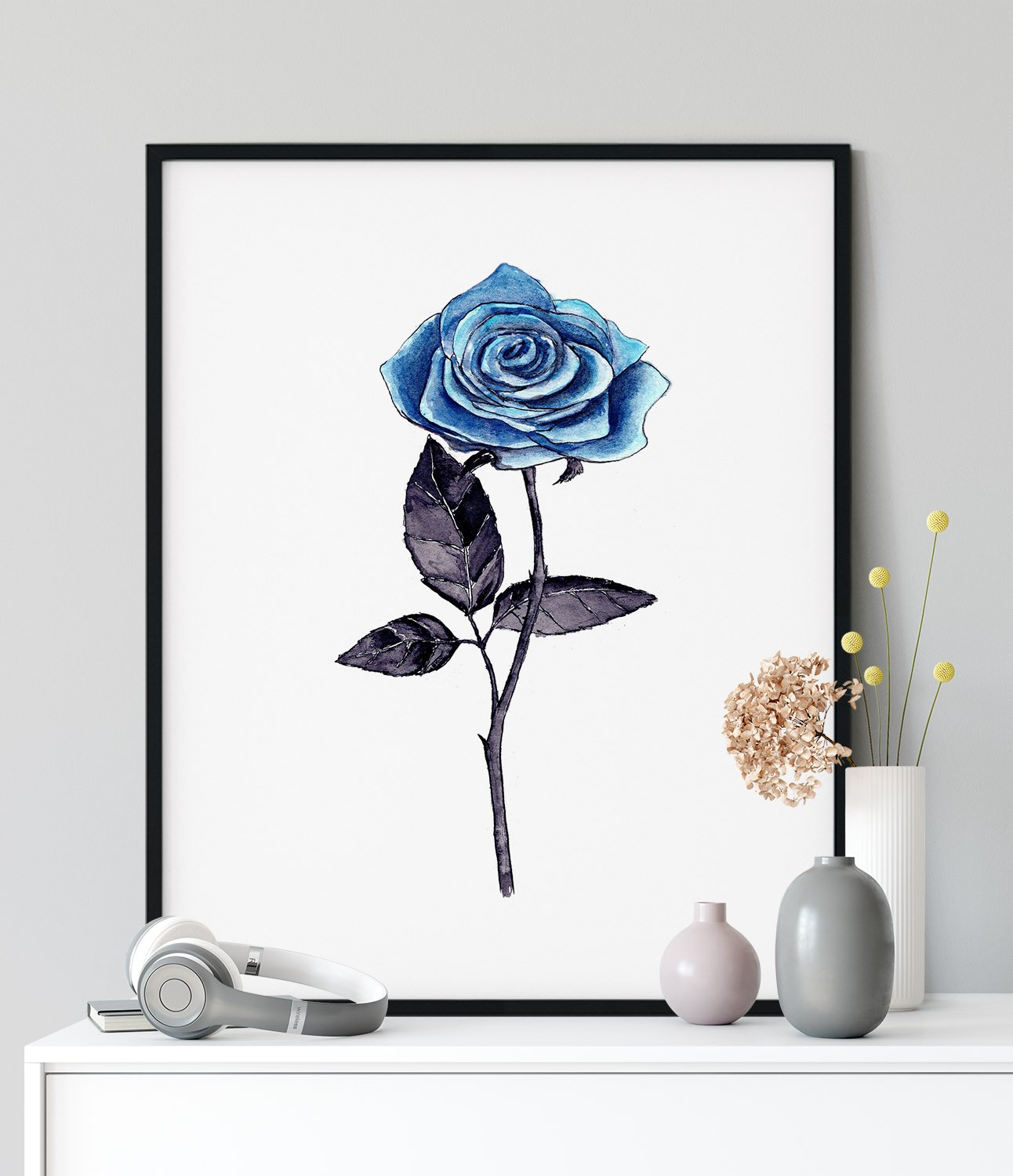 rose-blue-flower-framed-art-print