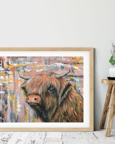 abstract-animal-art-highland-cow-home-decor